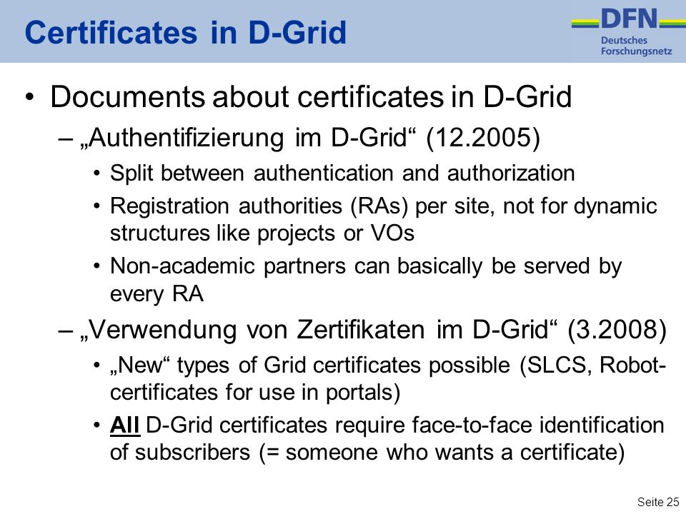 Certificates in D-Grid