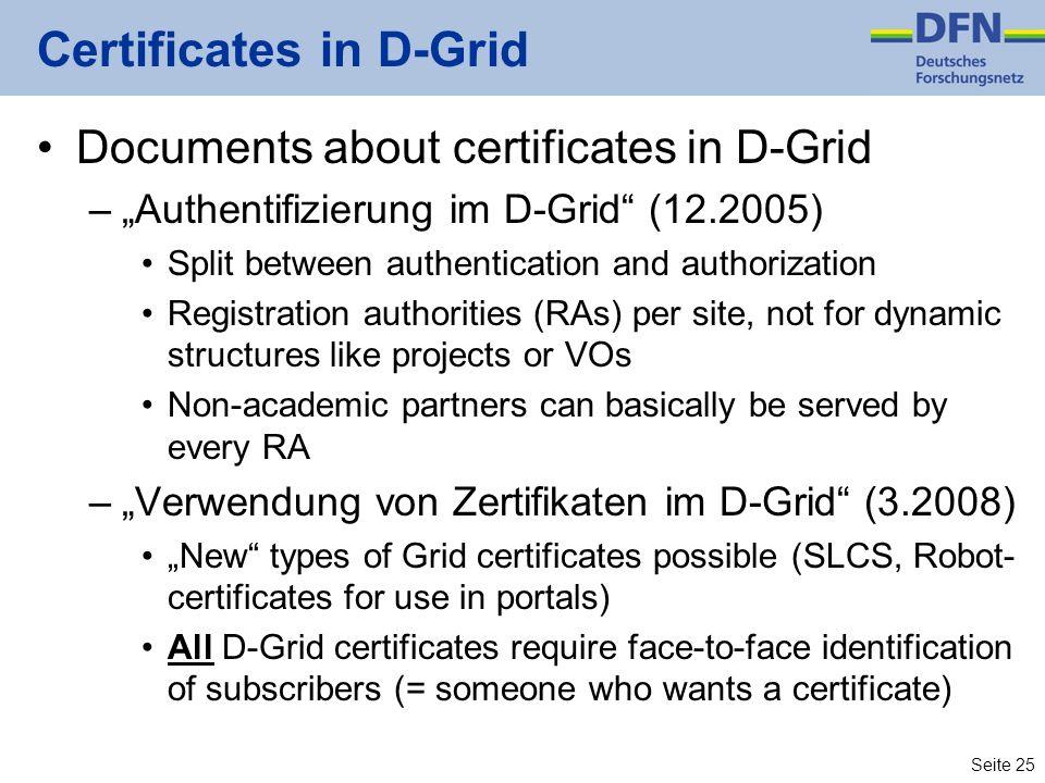 Certificates in D-Grid