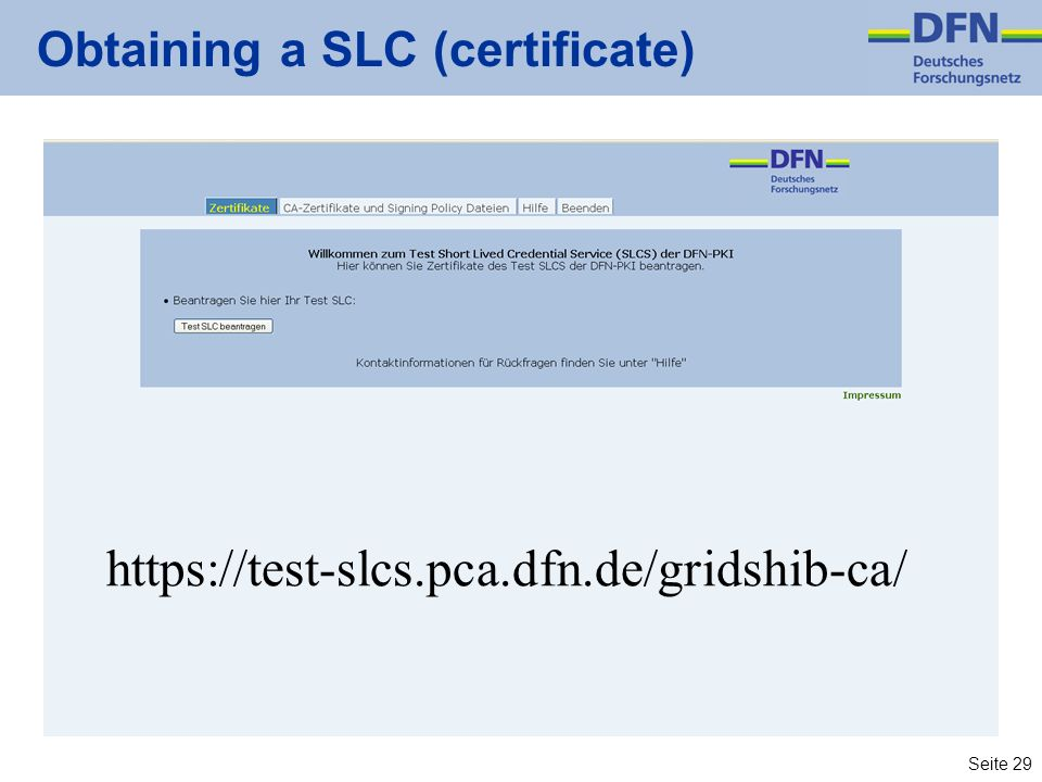 Obtaining a SLC (certificate)