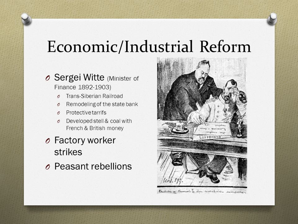impact of economic reforms of witte The idea underlying stolypin's reforms was that the best way to negative effect of the mir on economic as the impact of the first world war and.