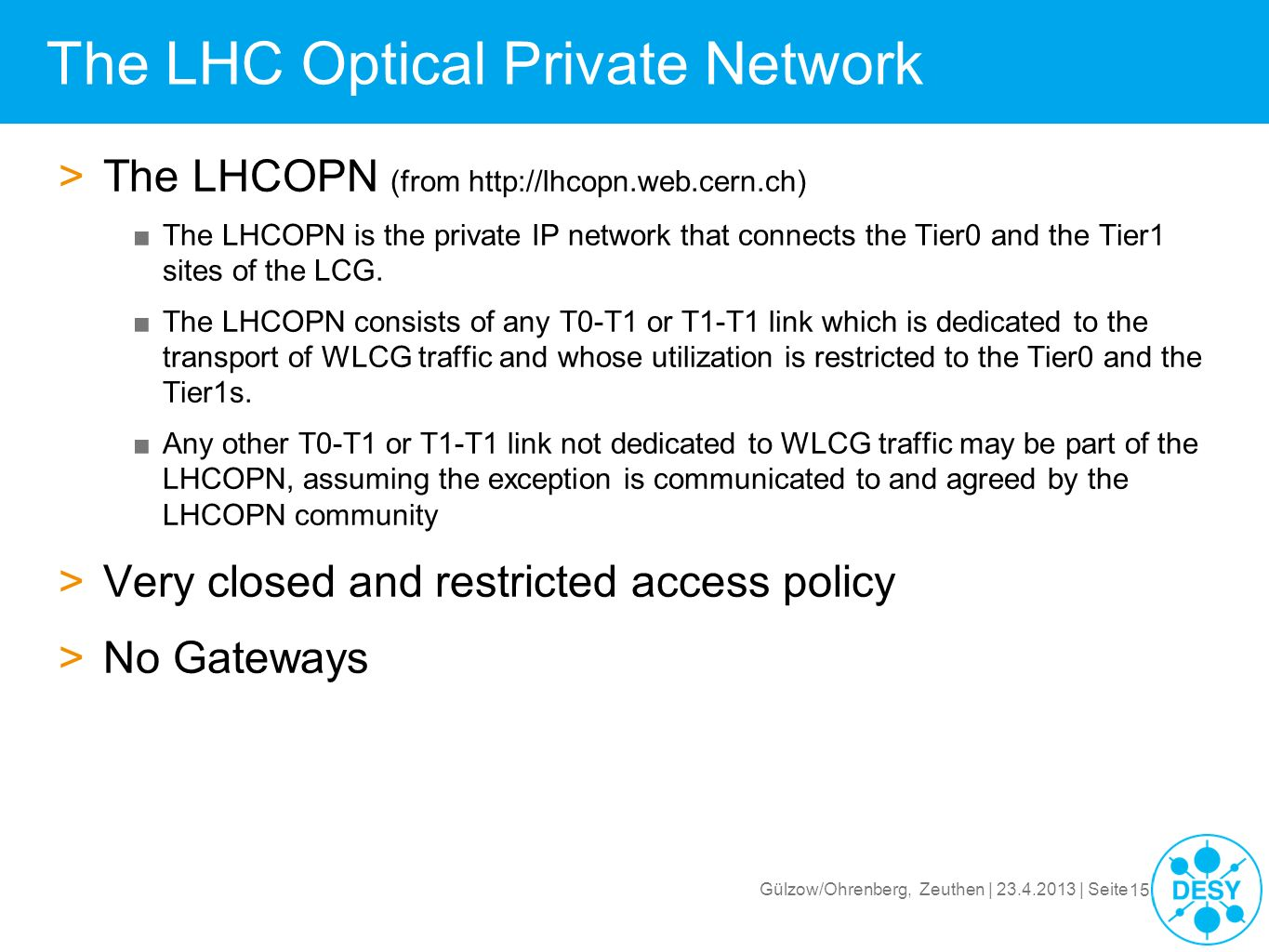The LHC Optical Private Network