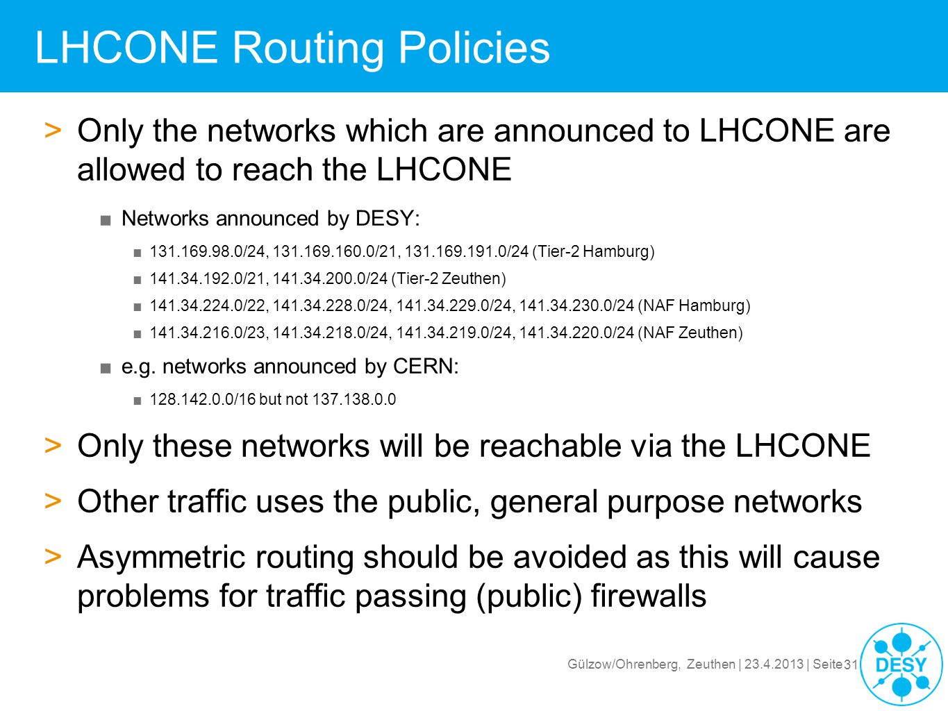 LHCONE Routing Policies