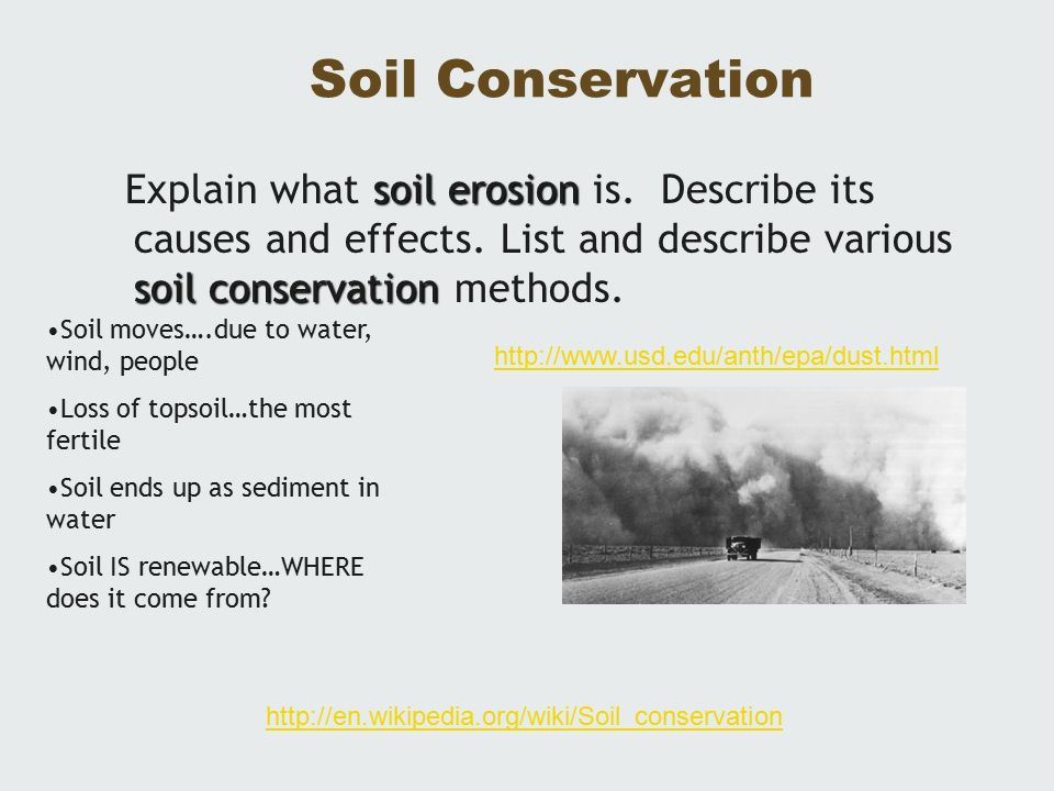 water and soil conservation Soil conservation techniques for hillside farms: soil conservation strategies soil conservation techniques for hillside farms (peace corps, soil conservation strategies: strategies in cultivation systems characterized by extensive soil disturbance: waterways from draining excess water for fields.