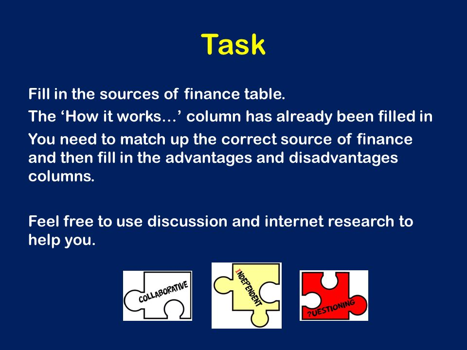 task 3 sources of finance