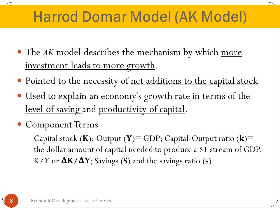 the harrod domar model The harrod-domar models of economic growth roy harrod (1939) and evsey domar (1949) developed a keynesian theory of economic growth which.