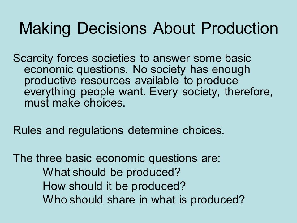 Making Decisions About Production