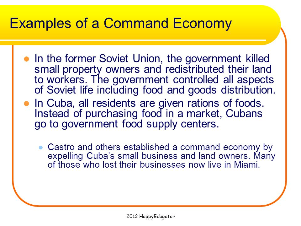 command economy essay example Cuba is an example of a country which has a command economy this economic system has allowed cuba to develop a balanced economy focusing on social equality through investment in public goods and services, and an even distribution of wealth.