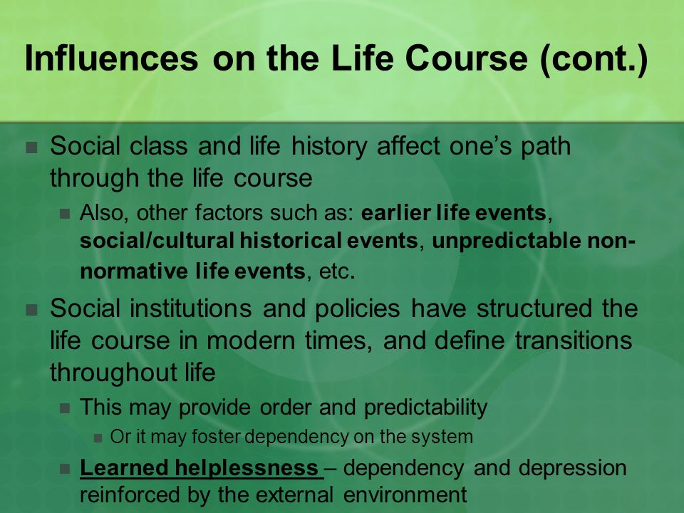 the influence of events and people to ones life One way of thinking about cultures is whether they are primarily 'collectivist' or ' individualist'  of ideas, customs and behaviours shared by a particular people  or society  lesser influence of group views and values, and in fewer aspects of  life  a diagnosis and may even believe they cannot change the course of events.