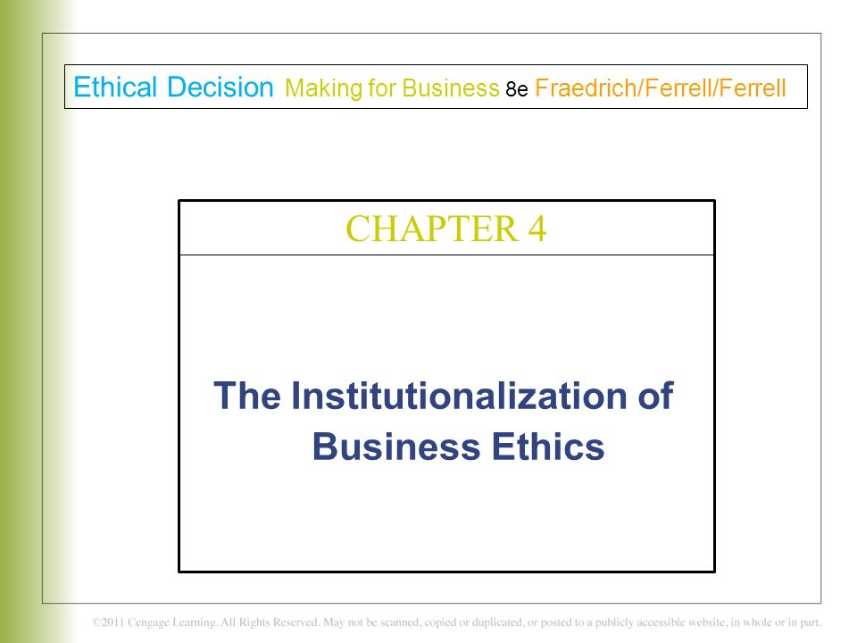 "institutionalizing ethics Ethics and morals relate to ""right"" and ""wrong"" conduct while they are sometimes used interchangeably, they are different: ethics refer to rules provided by an external source, eg, codes of conduct in workplaces or principles in religionsmorals refer to an individual's own principles regarding right and wrong."