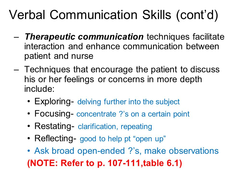 communication strategies for therapeutic relationships Support therapeutic intervention ccc6  therapeutic relationships through safe,  effective  uses strategies to enhance communication and remove barriers to.