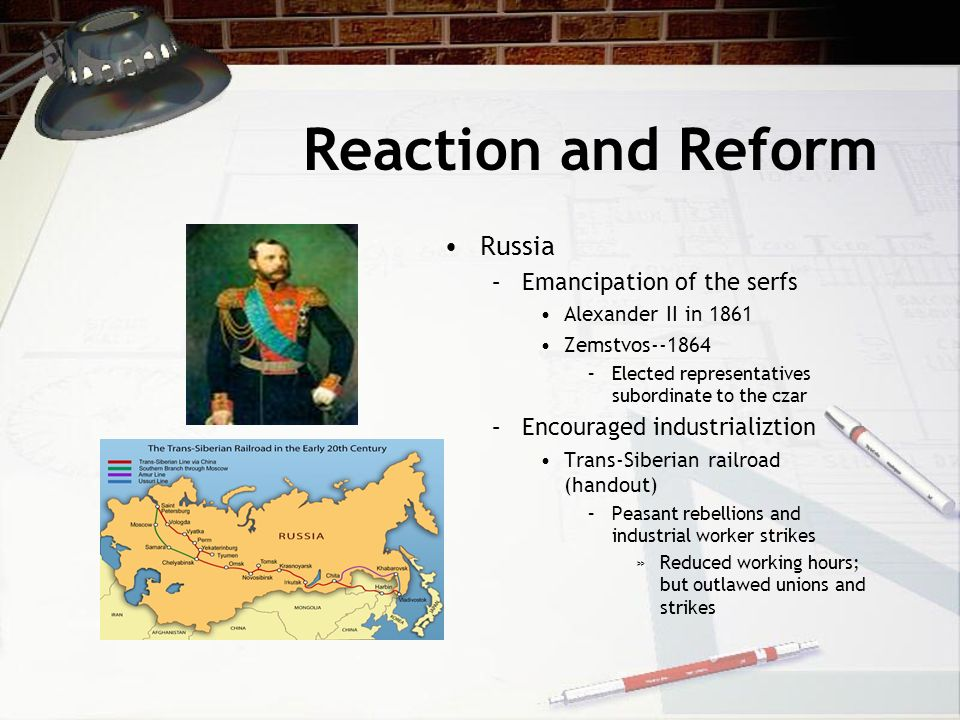 Reaction and Reform Russia Emancipation of the serfs