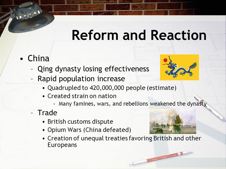 Reform and Reaction China Qing dynasty losing effectiveness