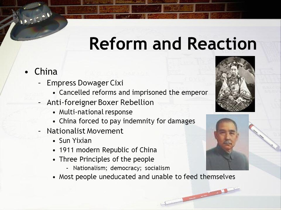 Reform and Reaction China Empress Dowager Cixi