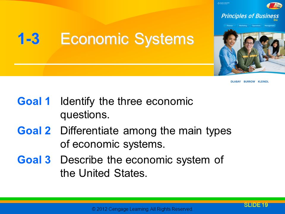 1-3 Economic Systems Goal 1 Identify the three economic questions.