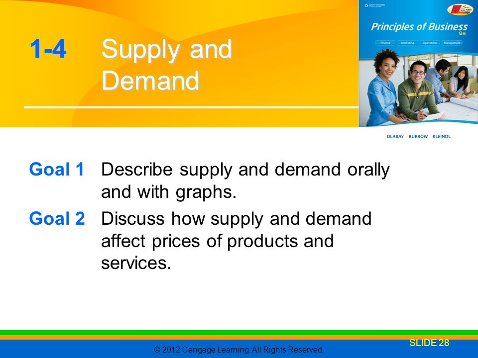1-4 Supply and Demand Goal 1 Describe supply and demand orally and with graphs.
