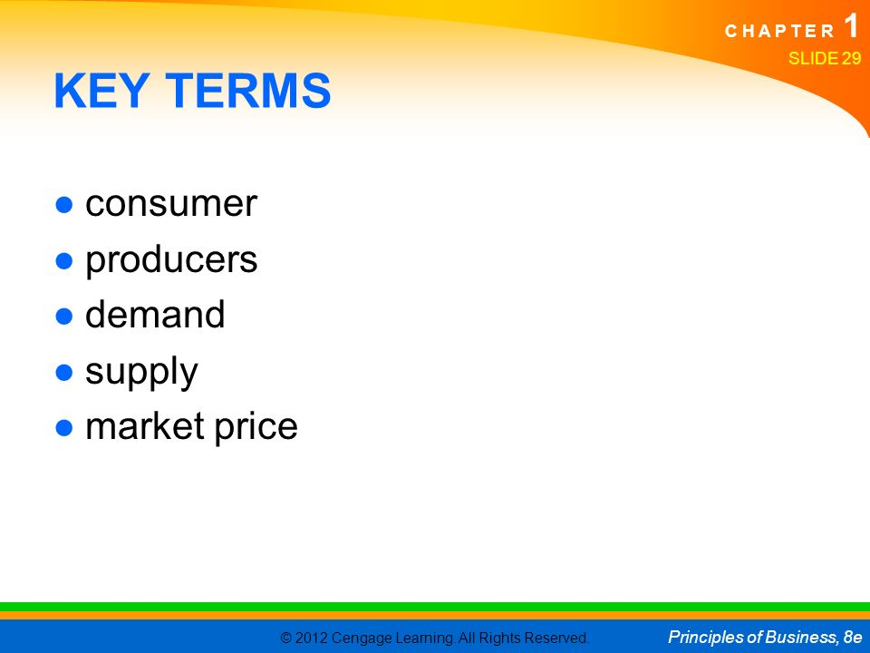 KEY TERMS consumer producers demand supply market price