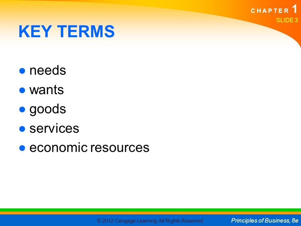 KEY TERMS needs wants goods services economic resources