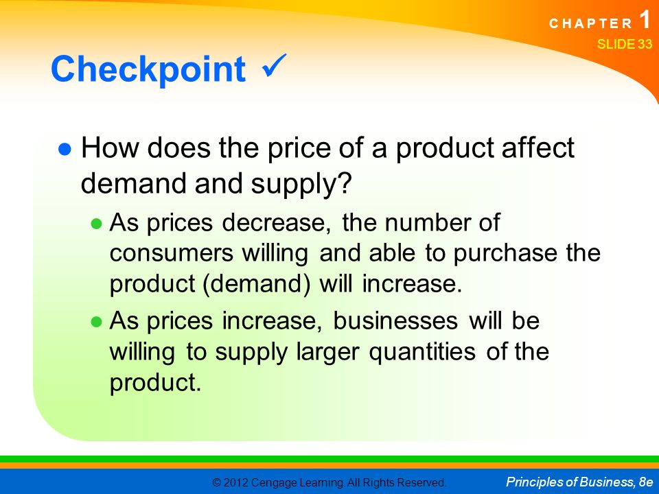 Checkpoint  How does the price of a product affect demand and supply