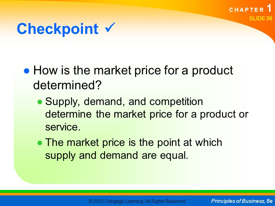 Checkpoint  How is the market price for a product determined