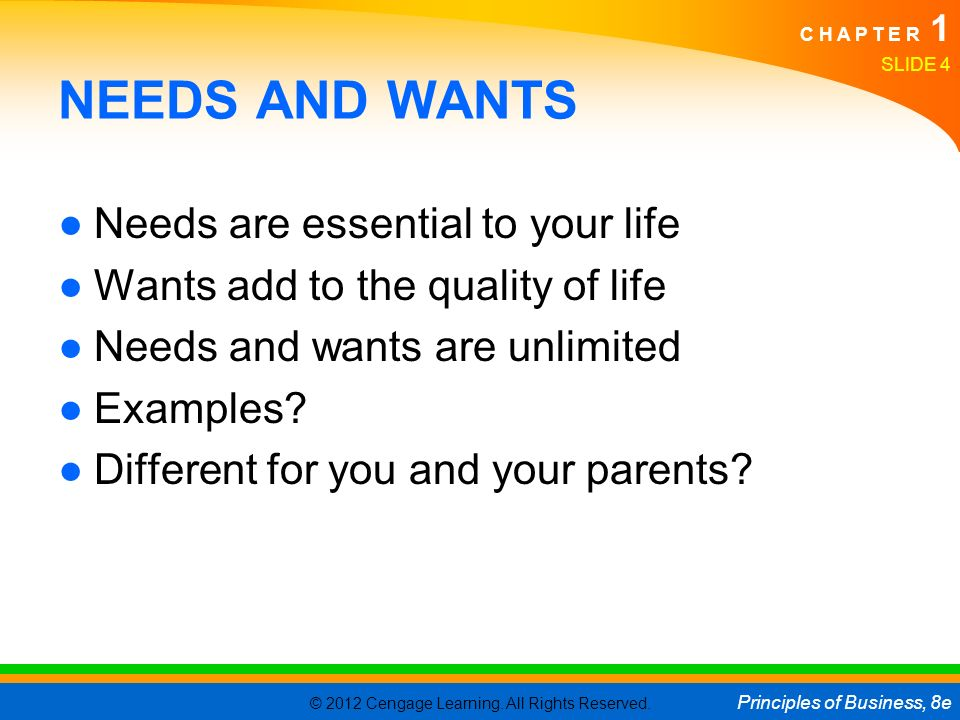 NEEDS AND WANTS Needs are essential to your life