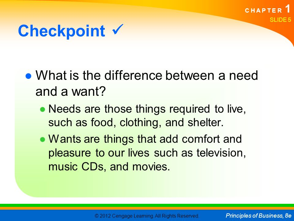 Checkpoint  What is the difference between a need and a want