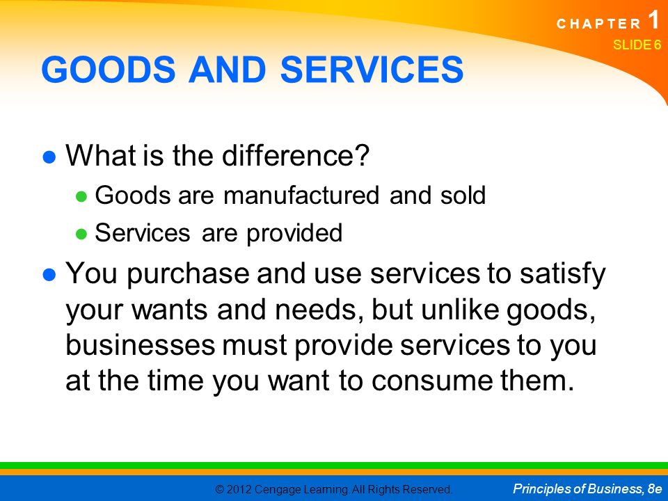 GOODS AND SERVICES What is the difference