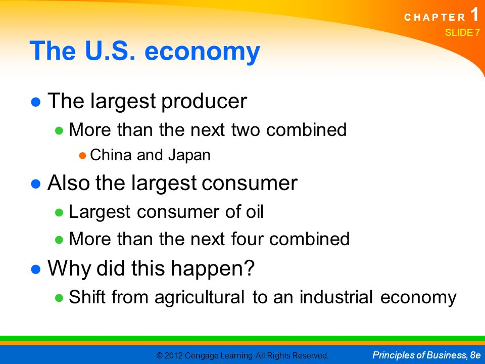 The U.S. economy The largest producer Also the largest consumer