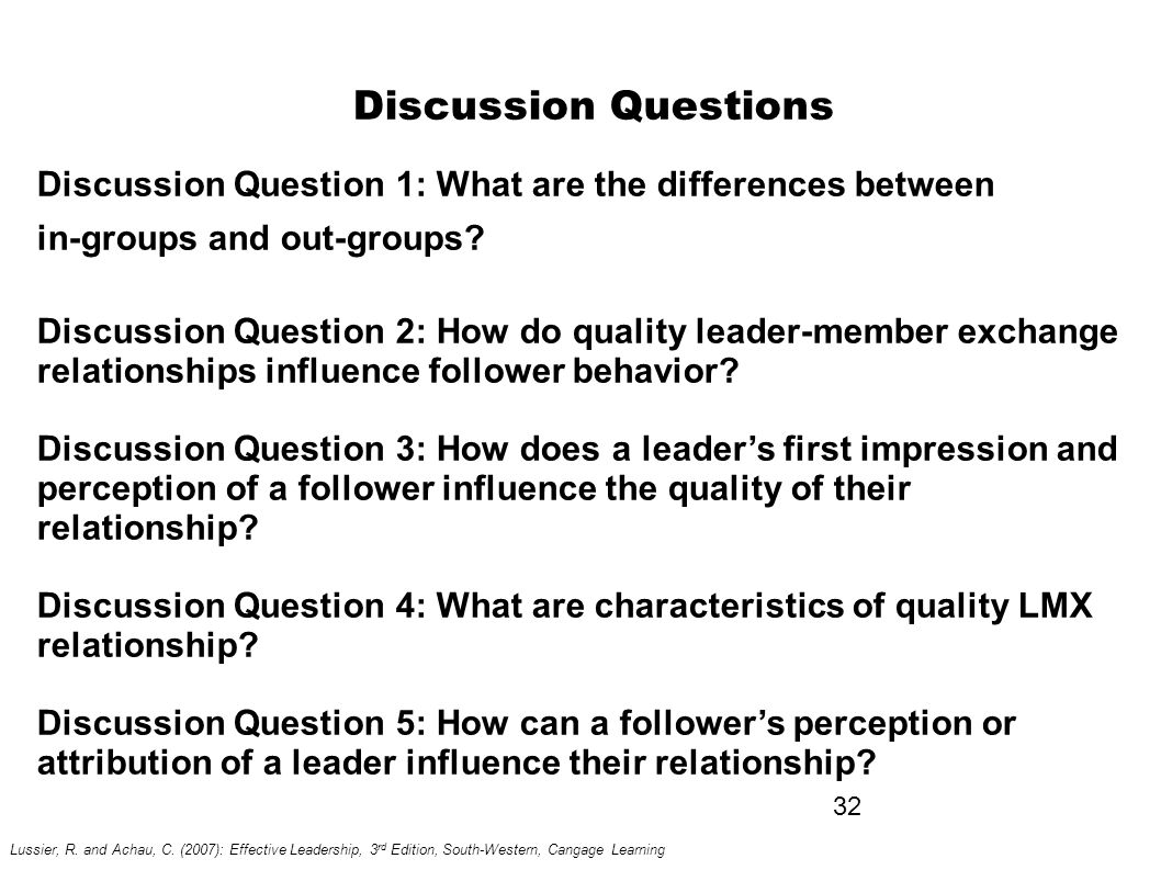 leader member exchange questionnaire Leader-member exchange, transformational leadership,  quality of leader-member exchange has been found to be  leadership is a relationship between leaders and.