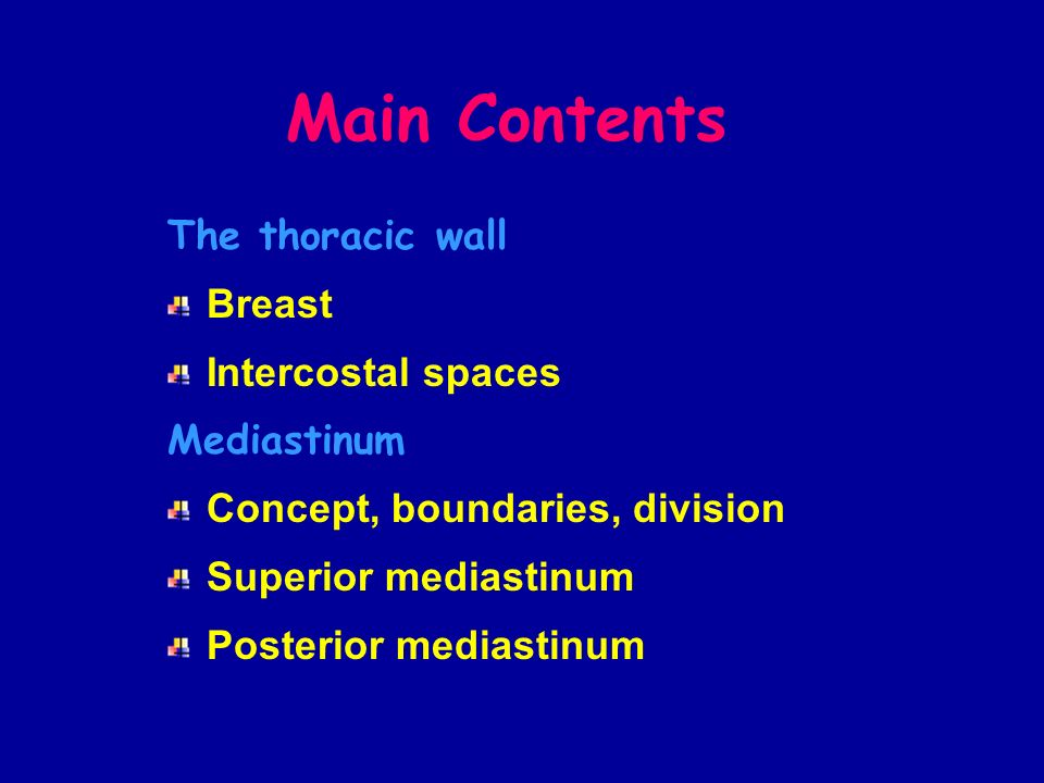 Main Contents The thoracic wall Breast Intercostal spaces Mediastinum