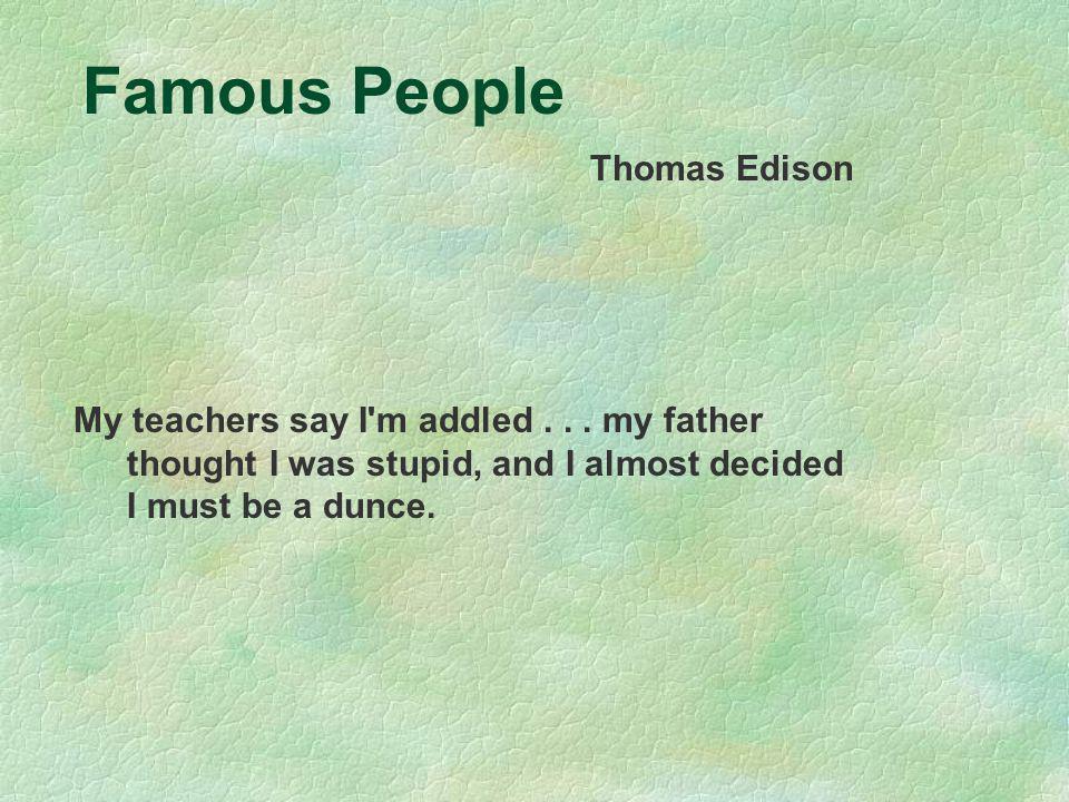 Famous People Thomas Edison