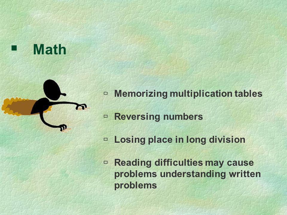 Math Memorizing multiplication tables Reversing numbers
