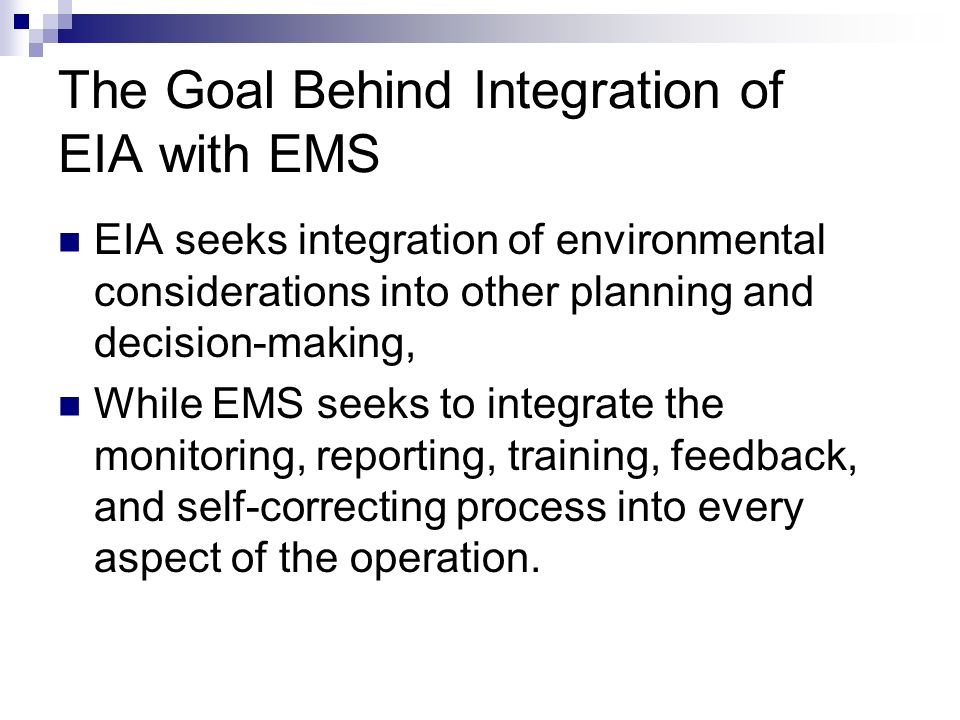 the integration of legislation into ems Download citation on researchgate | integration of the national environmental policy act into a comprehensive environmental management system: the tennessee valley authority experience | in early .