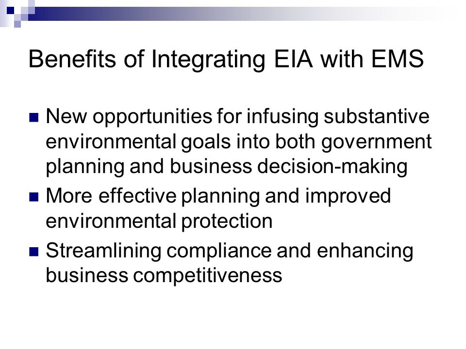 eia ems Get this from a library furthering environmental impact assessment : towards a seamless connection between eia and ems [anastassios perdicoulis bridget durning lisa palframan] -- the environmental impact of development projects is currently studied and mitigated from two distinct perspectives: before and after project implementation.