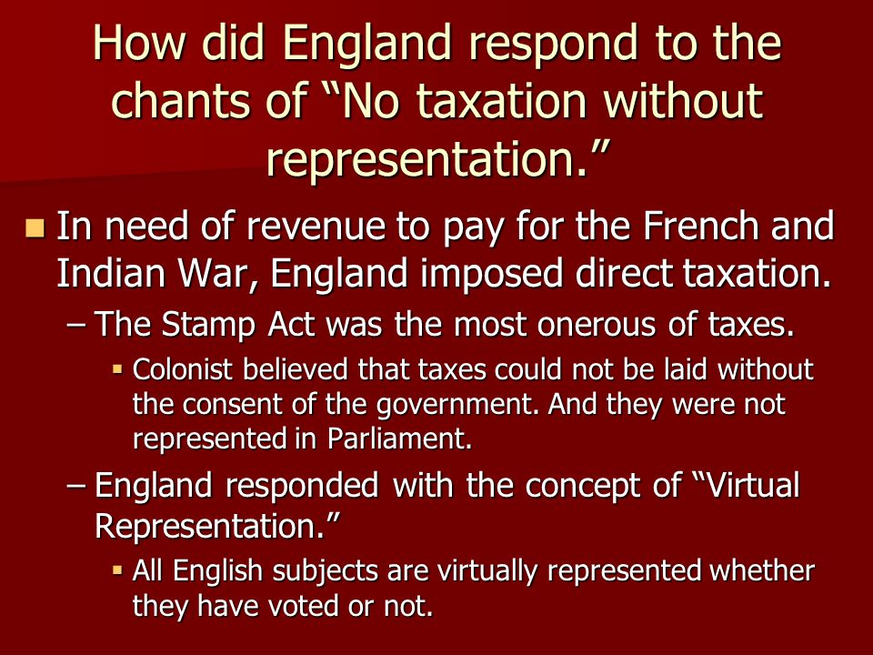 A discussion of whether taxation without representation is tyranny