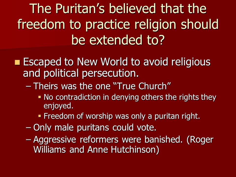 contradictions in the puritan religion Injustice in god's name: the corruption of modern islam in the world constructed by puritan modes of the institutions of religion and law were.
