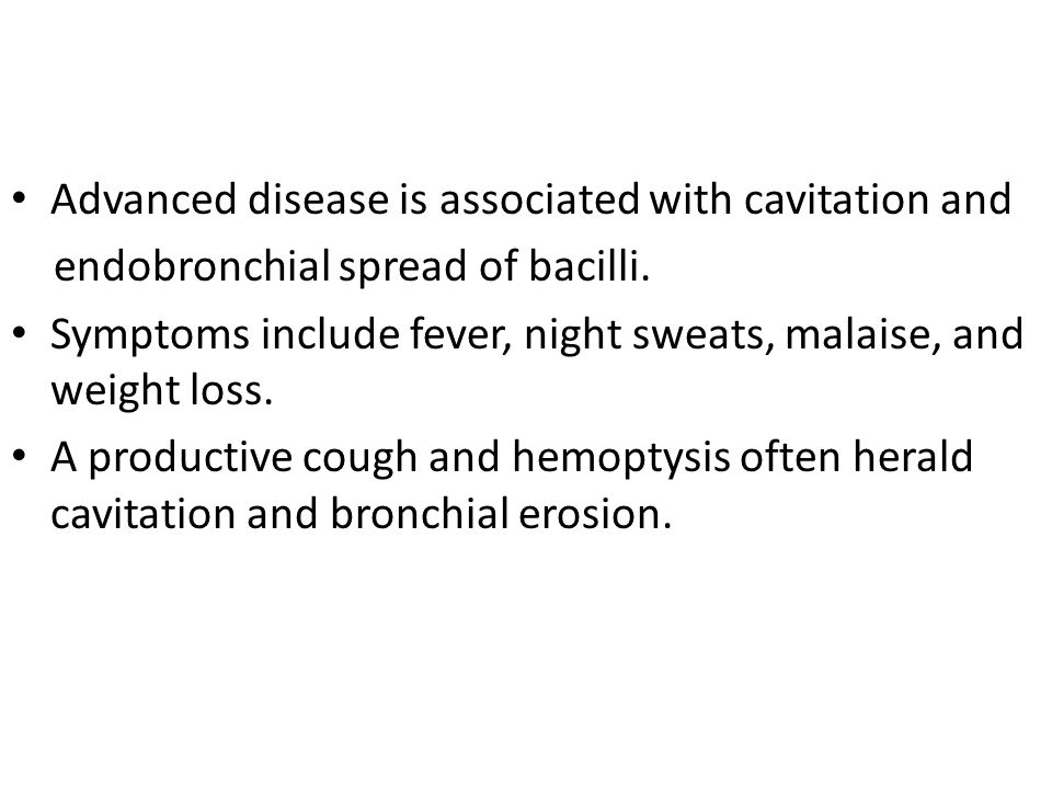 Advanced disease is associated with cavitation and
