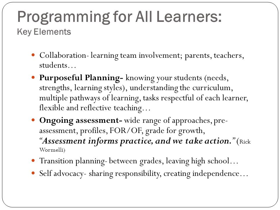 Programming for All Learners: Key Elements