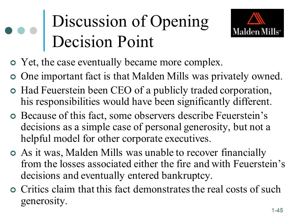 business ethics case of malden mills Case, amber, an administrative assistant started out well, but began to adopt   however, since then, malden mills has been to bankruptcy court three times, with .