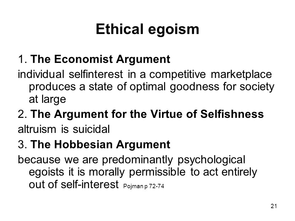 ethical egoism pros and cons pdf