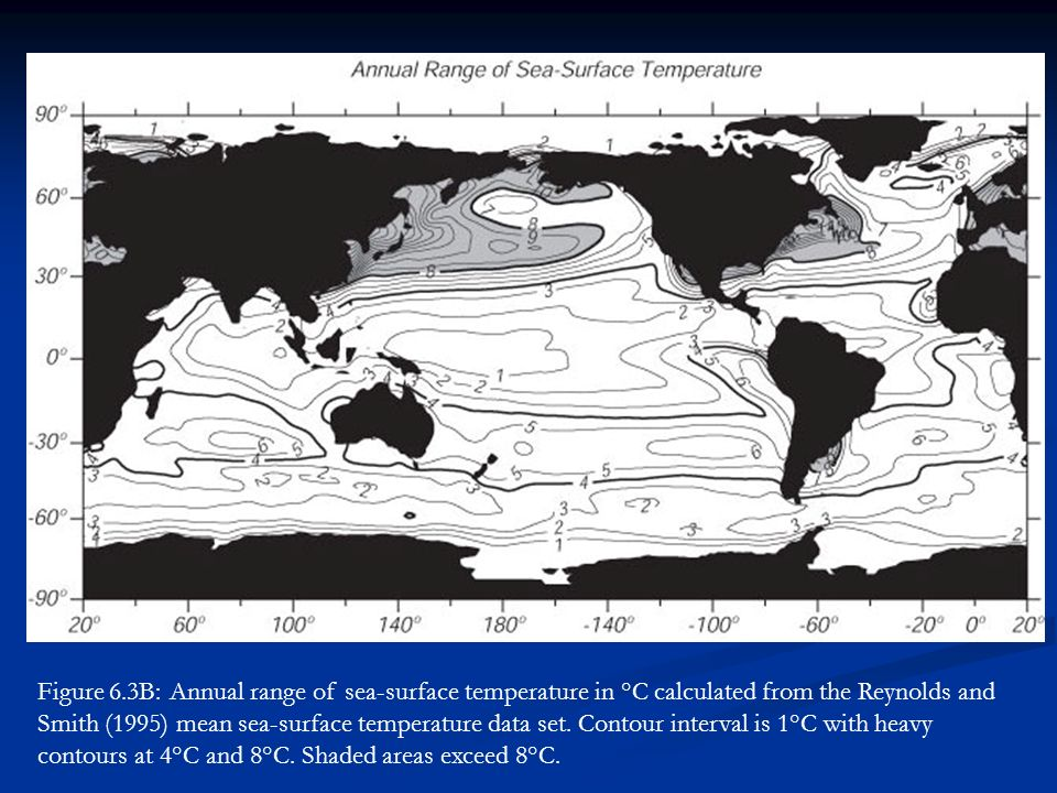 Figure 6.3B: Annual range of sea-surface temperature in °C calculated from the Reynolds and Smith (1995) mean sea-surface temperature data set.