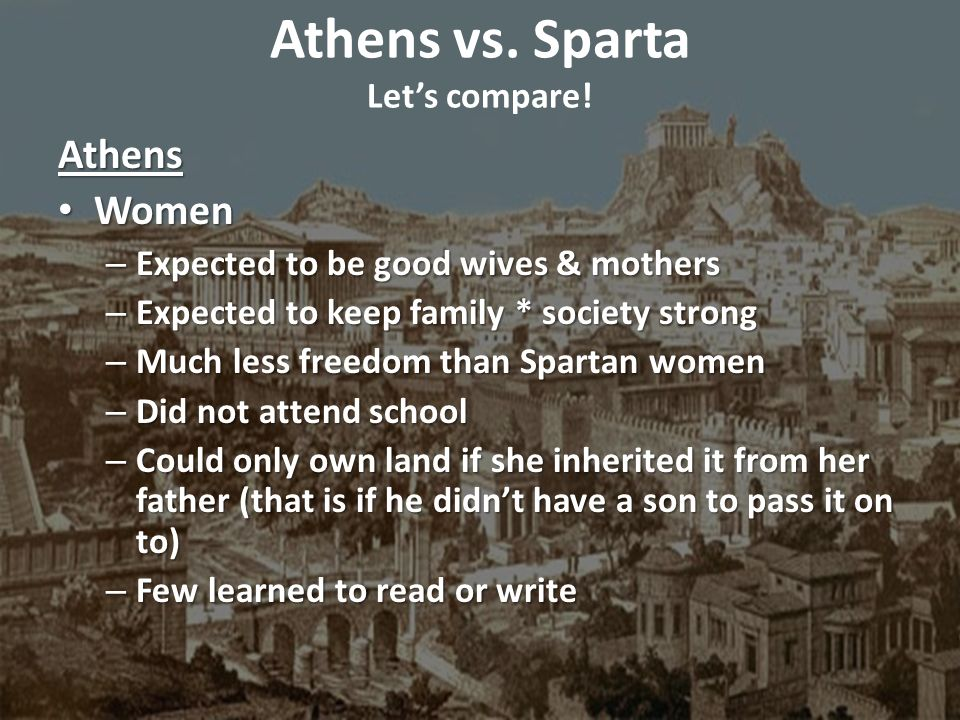 What Are the Differences Between Athens and Sparta?