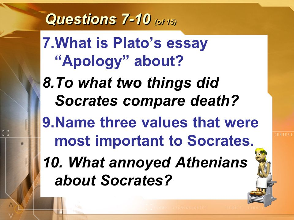 ancient greek culture and plato quiz ppt  what is plato s essay apology about