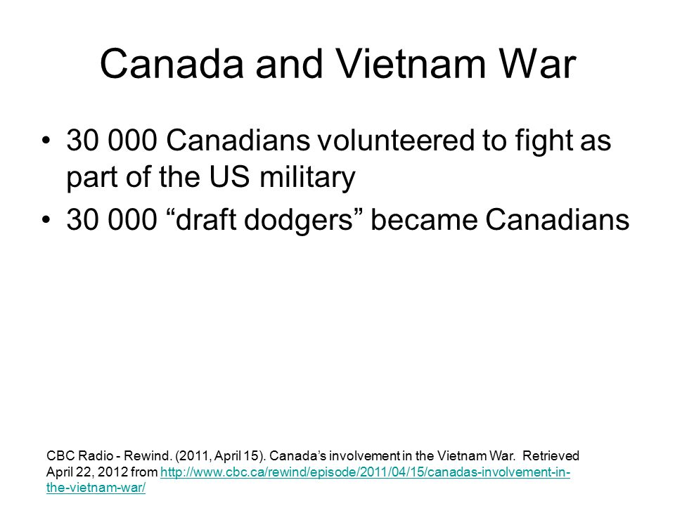 The Vietnam War: Canada's Role, Part One