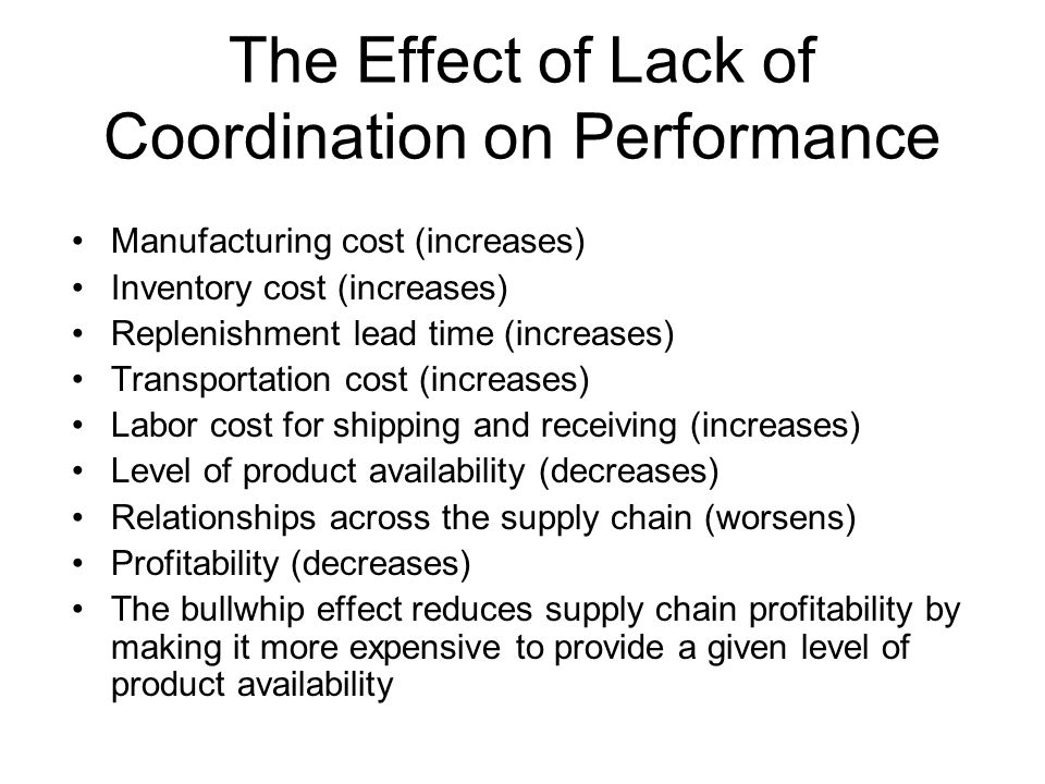 The Effect of Lack of Coordination on Performance