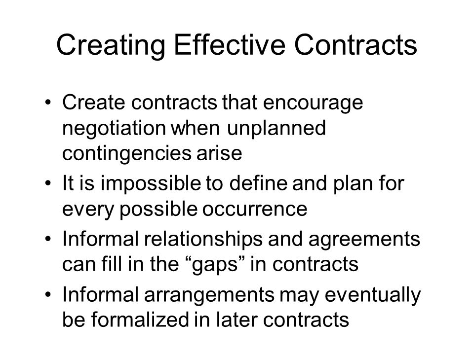 Creating Effective Contracts