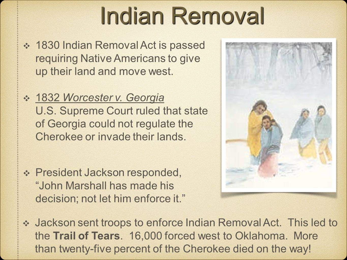 andrew jackson and the indian removal in america Indian removal act summary: after demanding both political and military action on removing native american indians from the southern states of america in 1829, president andrew jackson signed this into law on may 28, 1830.