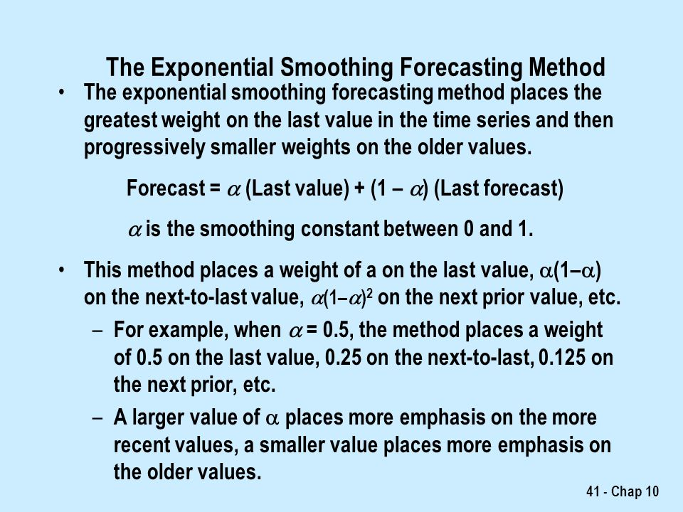 forecasting weighted mean and exponential smoothing Use a two month moving average to generate a forecast for demand in month 6 apply exponential smoothing with a smoothing constant of 09 to generate a forecast for.
