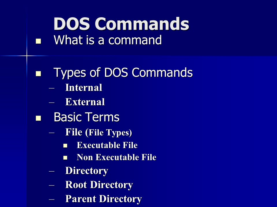 how to change directory in dos