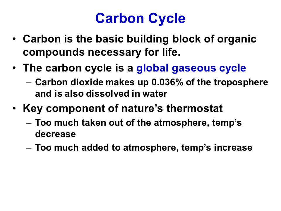 carbon cycle the cycle of a component of life Before the coming of life, earth was a bleak place, a rocky globe with shallow seas and a thin band of gases—largely carbon dioxide, carbon monoxide, molecular nitrogen, hydrogen sulfide, and water vapour it was a hostile and barren planet.