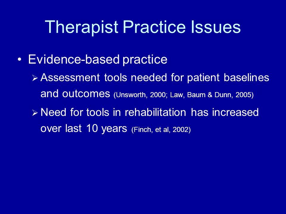Therapist Practice Issues